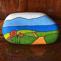 – Painted rock – stylized landscape – inspired by the Opal Coast France - ROCK ART Rock Painting Patterns, Rock Painting Ideas Easy, Rock Painting Designs, Stone Art Painting, Pebble Painting, Pebble Art, Painted Rocks Craft, Hand Painted Rocks, Stone Crafts