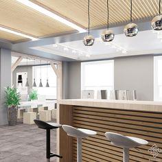 Основное офисное пространство плавно перетекает из зоны общения с клиентами. Рабочие места располагаются возле окон. В более темной части помещения располагается барная стойка, которая может использоваться как зона отдыха работников. Верхний уровень, напротив входа в помещение, отделан деревянными брусками, также как и в зоне работы с клиентами. Этот прием визуально объединяет два помещения и формирует визуальную ось. #interiors #interiordesign #офисы #дизайнофиса