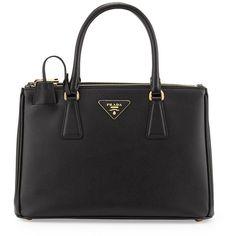 Prada Saffiano Small Double-Handle Tote Bag (€1.980) ❤ liked on Polyvore