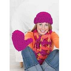 Easy and fast mittens and hat set - makes a great gift for any one who loves bright colors. Shown in Patons Melody. (Patons Yarns)