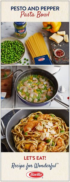 Add some flair to your weeknight menu by saving this Pesto and Pepper Pasta Bowl! Brimming with shrimp, peas, peppers and angel hair pasta, this pesto recipe is a must! (Make with squash) Seafood Dishes, Pasta Dishes, Seafood Recipes, Pasta Recipes, Chicken Recipes, Dinner Recipes, Cooking Recipes, Fish Recipes, Recipies