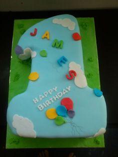 Number 1 birthday balloons cake
