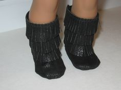 American Girl Doll faux leather boots in black with fringe by Girly Dezines on etsy.com