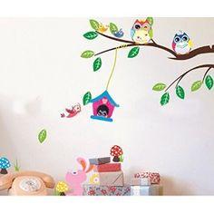 adesivi murali cameretta neonato gufo sul ramo - Cerca con Google