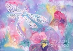 Title  Dance Of The Dragonfly   Artist  Ellen Levinson   Medium  Painting - Watercolor