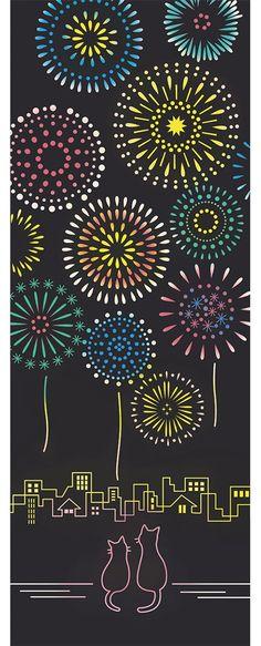 。【メール便送料無料】花火猫 Airashika(あいらしか) 親子猫 花火 夏祭り 本染 日本製 和雑貨 注染手ぬぐい 33×90cm TE-6002-01