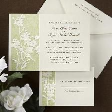 An ecru invitation card features a green, paisley design with embossed ecru flowers to the left with your wording printed to the left. Embossed Wedding Invitations, Wedding Invitation Trends, Inexpensive Wedding Invitations, Elegant Invitations, Invitation Cards, Wedding Planner, Invitation Ideas, Paisley Background, Embossed Cards