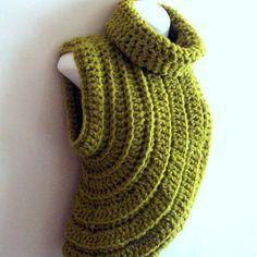 Katniss Inspired Cowl Huntress Cowl Crochet Pistachio Green Wool Vest Cross Body…