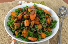 Kale Sauté with Roasted Butternut Squash, Dried Cranberries, and Pecans