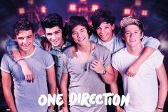 aan mijn muur hangen heel veel posters van One Direction. ik luister er namelijk heel veel naar.