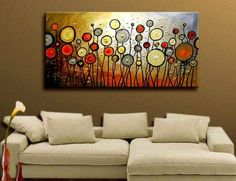 "Huge! Modern Wall Decor Abstract Large Art Oil Painting On Canvas Artwork 24x48"" Framed & Stretched Ready to Hang"