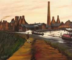 "The Potteries - Walking the Dog The Potteries ""Walking the Dog"" Fine Art Print of Original Oil Works by John W Martin"
