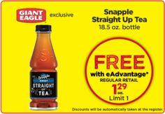 (Free Snapple Straight Up Tea At Giant Eagle) https://freestuff.land/2017/11/02/free-snapple-straight-tea-giant-eagle/ #CuoponsAndFood, #FreeFoodAndCoupon, #GiantEagle, #GiantEagleSamples, #GiantEagleSnappleStraightUpTeaSamples., #SnappleStraightUpTea #free #freebies