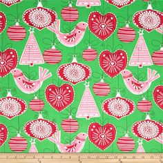 Michael Miller Holiday Ornaments For All Green from @fabricdotcom  rom Michael Miller, this cotton print fabric is perfect for quilting, apparel, crafts and and home décor accents. Colors include red, white, grass, pink and black.