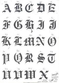 "Deviant Art educational purposes for individual Louise M aka: ""TM Blackcat"" Hand-drawn Gothic Alphabet. Calligraphy Fonts Alphabet, Tattoo Fonts Alphabet, Tattoo Lettering Fonts, Hand Lettering Alphabet, Lettering Styles, Lettering Design, Handwriting Fonts, Script Fonts, Gothic Lettering"