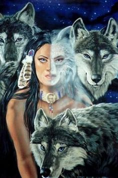 Wolf Spirit Totems ~ by Dianne Elizabeth Stanley Native American Wolf, Native American Pictures, Native American Wisdom, American Indian Art, American Indians, Fantasy Kunst, Fantasy Art, Tier Wolf, Wolves And Women