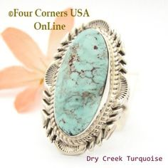 Size 9 Dry Creek Turquoise Large Stone Ring Navajo Artisan Thomas Francisco NAR-1801 Four Corners USA OnLine Native American Indian Jewelry
