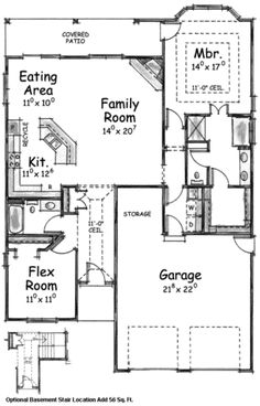 Traditional Style House Plan - 2 Beds 2 Baths 1905 Sq/Ft Plan #20-1612 - Dreamhomesource.com