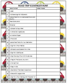 Road Trip Scavenger Hunt (Free Printable) #KidsActivities