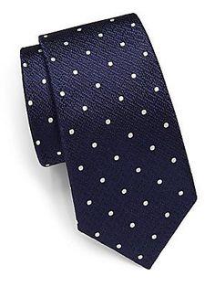 Canali Textured Polka Dots Silk Tie - Blue - Size No Size