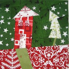 Red house and tree! (Love this tree and the fabric choices!)