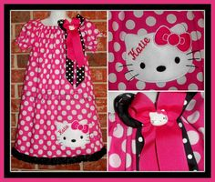 4T or 5 Hello Kitty Inspired Peasant Dress Sizes by HalfPintDivas
