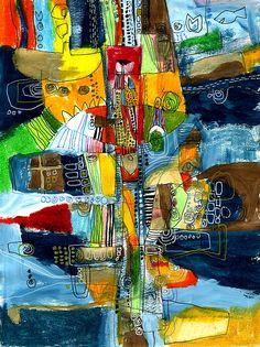 Akinao Saito - Acrylic, crayon & Ballpoint-pen on paper