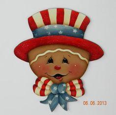 "HP Gingerbread "" GINGERBREAD SAM ""   Handpainted Fridge Magnet"