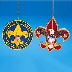 Club Pack of 12 Boy Scout and Eagle Scouts Emblem Christmas Ornaments