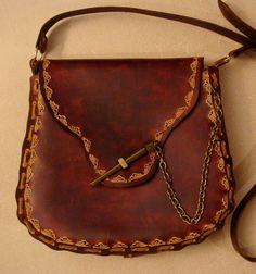 Kim Tooled Brown Leather Crossbody Bag - Shoulder Bag - Purse - Handbag - Wave Pattern on Etsy, $52.94 CAD