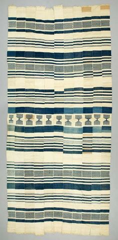 Distorted stripes...  Africa | blanket from the Sherbro people of Sierra Leone | ca. 20th century | Cotton; Strip woven; weft-faced;…