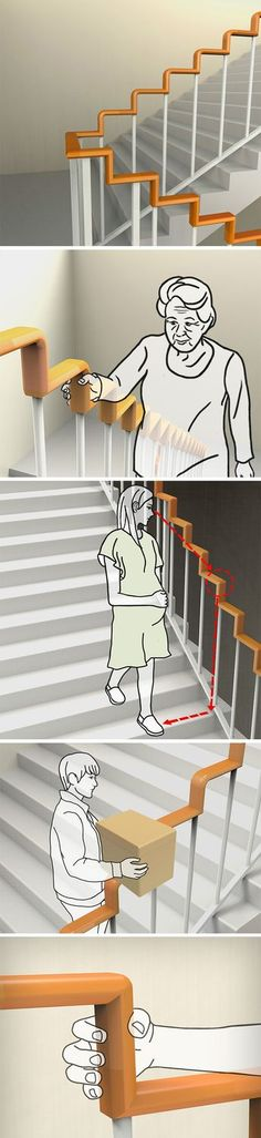 Simple in its design and description, the Right Angle Stair Handrail proposes a handrail that mirrors the stair's contours. Probably not the ideal handrail to slide down from, the Right Angle Stair Handrail makes itself easier for people who actually use and need it for support. The handrail's design even pays attention to the small details, like rounding off the edges of the handrail, so that they don't hurt anyone.