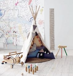 teepee and enormous map on the wall.