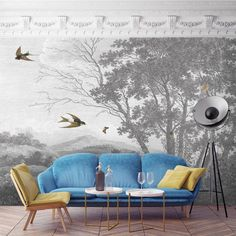 ZEPHYR - Designer Wall Mural by Woodchip & Magnolia. Greyscale English countryside scene with swallows. Paste the Wall Wallpaper.