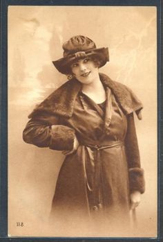 PZ104-ART-DECO-HIGH-FASHION-LADY-HAT-FUR-COAT-FRENCH-Tinted-PHOTO-pc
