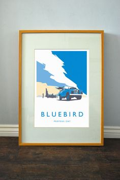 Large format Retro Vintage Land Rover Donald Campbell 'Bluebird' A2 poster | eBay