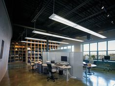 Very cool office space - simple but stylish lighting with exposed beam ceilings. Description from pinterest.com. I searched for this on bing.com/images