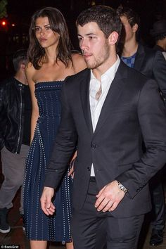 Ready to go public? Nick Jonas, 25, was pictured leaving brother Joe's engagement party with Victoria's Secret model Georgia Fowler, 25, in New York City on Saturday, as it's claimed the pair are 'casually dating'