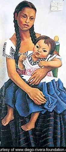 Delfina Flores Y Su Sobrina Modesta - Diego Rivera - www.diego-rivera-foundation.org