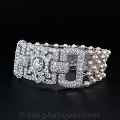 Art Deco Diamond and Pearl Bracelet with 2.10 Carat Center Diamond $27,000.00