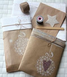 Beautiful, simple brown bag, white stamp pad, rubber stamp = Voila! instant, easy gift wrap!