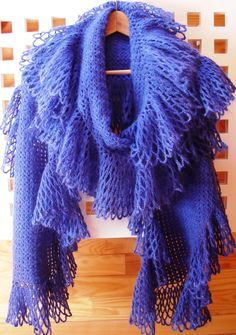 Air Scarf free crochet pattern--in russian--not sure but think an airy basic pattern (slightly wavy in nature) then you could add the edging
