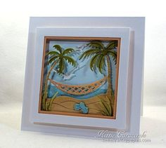 Card Making Ideas | Paper Crafts | Handmade Greeting Cards  Impression Obsession Palm Trees and Hammock framed scene die