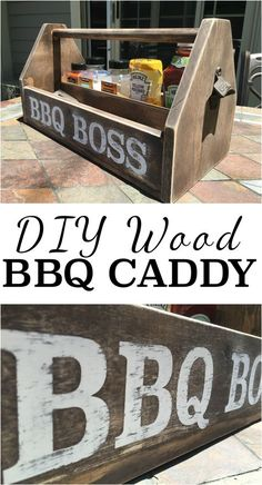 Make your own BBQ Caddy to keep all of your BBQ goods in one place. Summer time here we come! Click to see step by step plans.