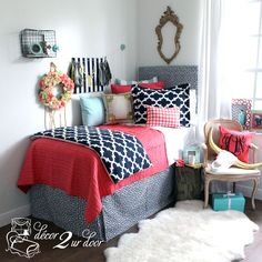 Coral Quilt, Navy & Canal Blue Dorm & Teen Designer Bedding Set. Dorm Décor and More! Available in all bed sizes: twin, full/queen, and king. Custom pillows, exclusive bed scarf, window panels, wall art, bed skirts, and custom monogramming! Custom-made designer bedding and accessories.