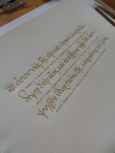 Georgia Angelopoulos. Orphic prayer (altered text) for a classics scholar. 23.75 carat gold powder and gouache on handmade paper