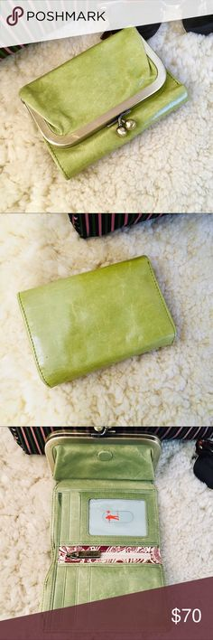 "HOBO Pale Green Wallet, Size 5"" x 3.75"" HOBO Pale Green Wallet 5"" x 3.75"" Hobo wallet barely used.  Has magnetic closure and pics show how many slots.  EUC. Measures 5"" x 3.75-4"" HOBO Bags Wallets"