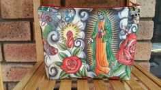 Clutch, large makeup bag, cosmetic bag, zipper pouch, purse, day of the dead by RazberriCreations on Etsy