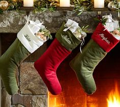 Velvet Stocking | Pottery Barn - just arrived today!!! #classyChristmas