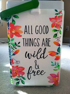 all good things are wild and free sorority floral cooler Big Little Gifts, Little Presents, Cute Crafts, Diy And Crafts, Arts And Crafts, Sorority Canvas, Sorority Paddles, Sorority Recruitment, Sorority Life